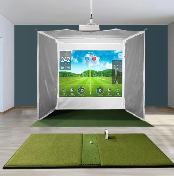 SkyTrak HomeCourse Retractable Golf Simulator Setup