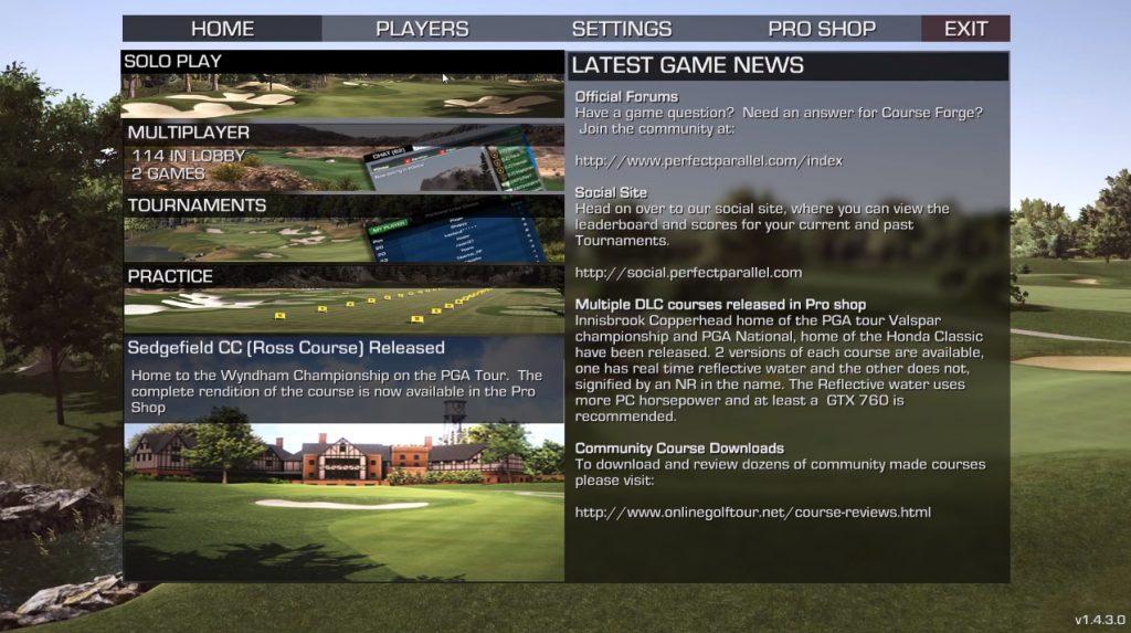 Jack Nicklaus Perfect Golf User Interface