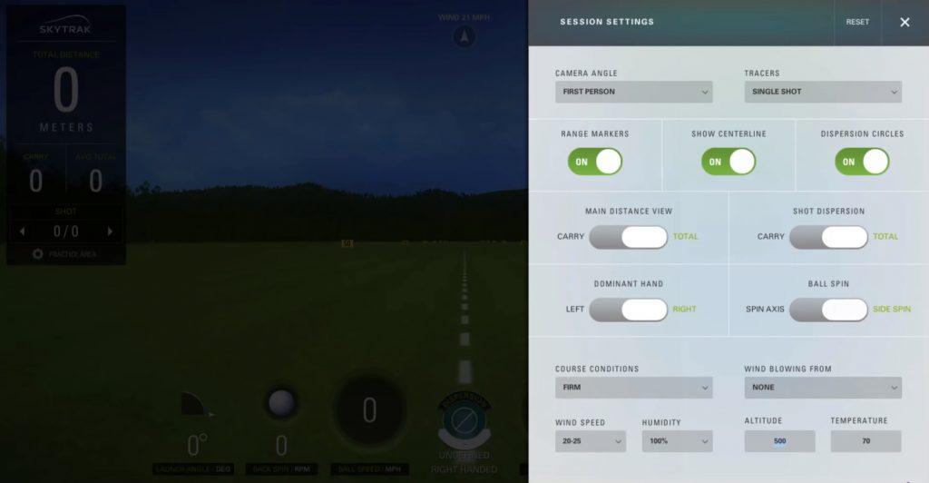 SkyTrak Practice Session Advanced Settings