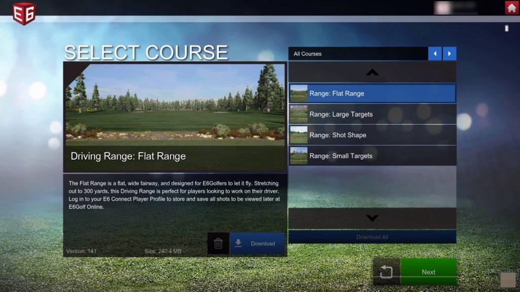 SkyTrak Simulation - E6 Practice Range Selection