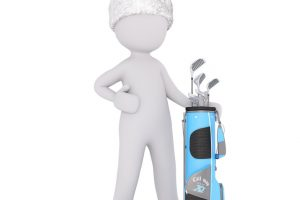 Person in Santa hat next to golf bag