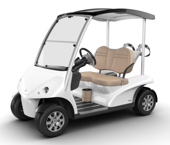 Garia Luxury Golf Car - White, Corner View